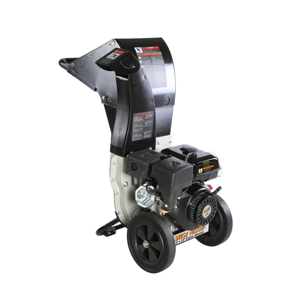 Brush Master 5.25 x 3.75in 445cc Gas Powered Self Feed Chipper Shredder with Unique Innovation 3-in-1 Discharge, Gloves, Goggles
