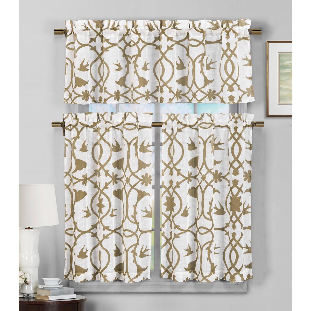 Dawn Wheat Faux Linen Kitchen Curtain - 58 in. W x 15 in. L (2-Piece)