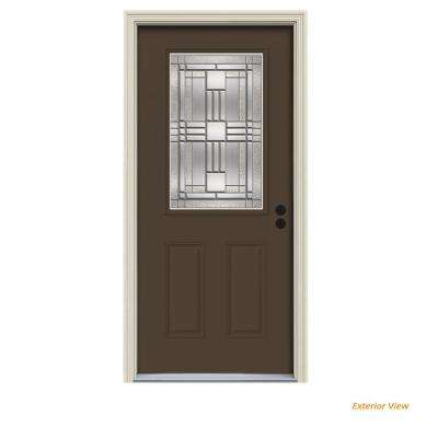 36 in. x 80 in. 1/2 Lite Cordova Dark Chocolate Painted Steel Prehung Left-Hand Inswing Front Door w/Brickmould