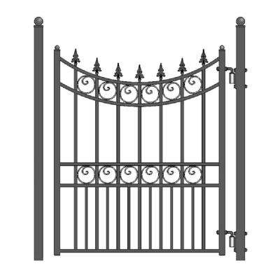 Moscow Steel 4 ft. x 5 ft. Black Steel Pedestrian Fence Gate