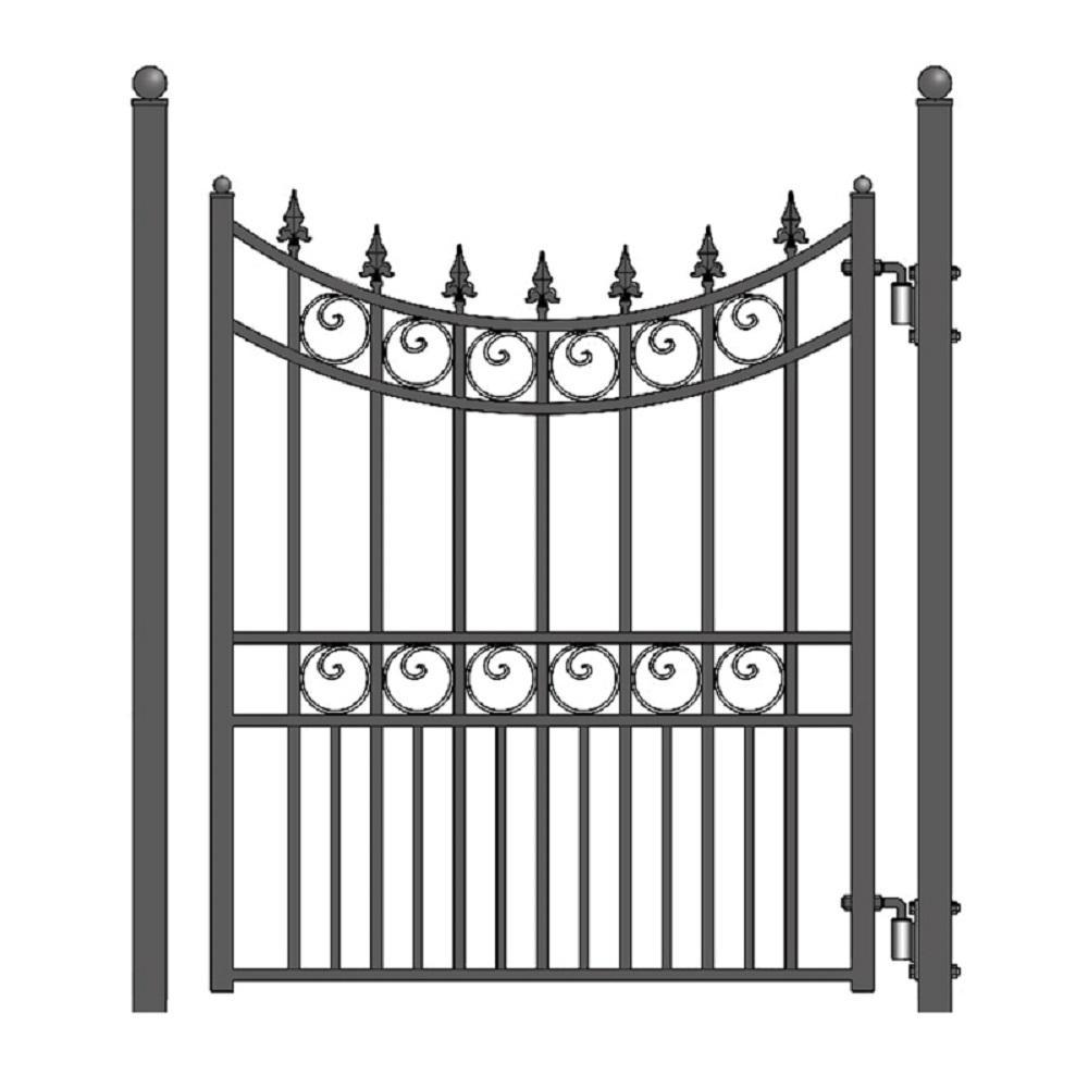 Moscow Steel 4 ft. x 5 ft. Black Steel Pedestrian Fence Gate
