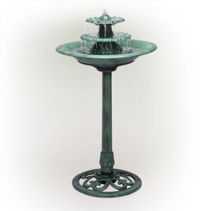 35 in. Tall Outdoor 3-Tiered Pedestal Water Fountain and Birdbath, Green