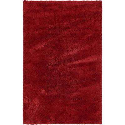 solid shag red 5 ft x 8 ft area rug