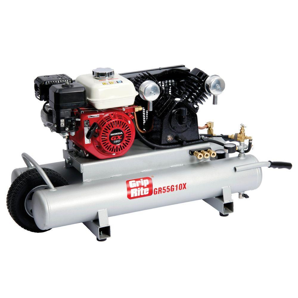 Grip-Rite 10 gal. 5.5 HP Portable Gas-Powered Wheelbarrow Compressor