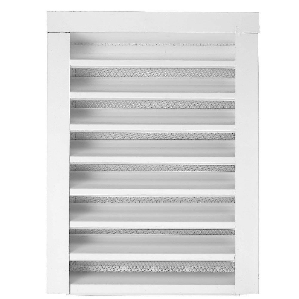14 in. x 12 in. White Gable Louver Flange Front Static