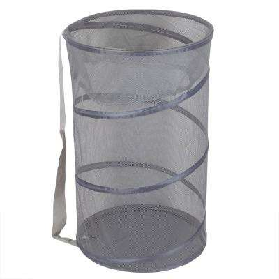 Grey Collapsible Mesh Laundry Hamper