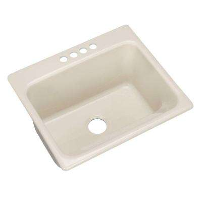 Kensington Drop-In Acrylic 25 in. 4-Hole Single Bowl Utility Sink in Bone