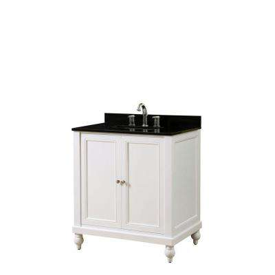 Classic 32 in. Vanity in Pearl White with Granite Vanity Top in Black with White Basin