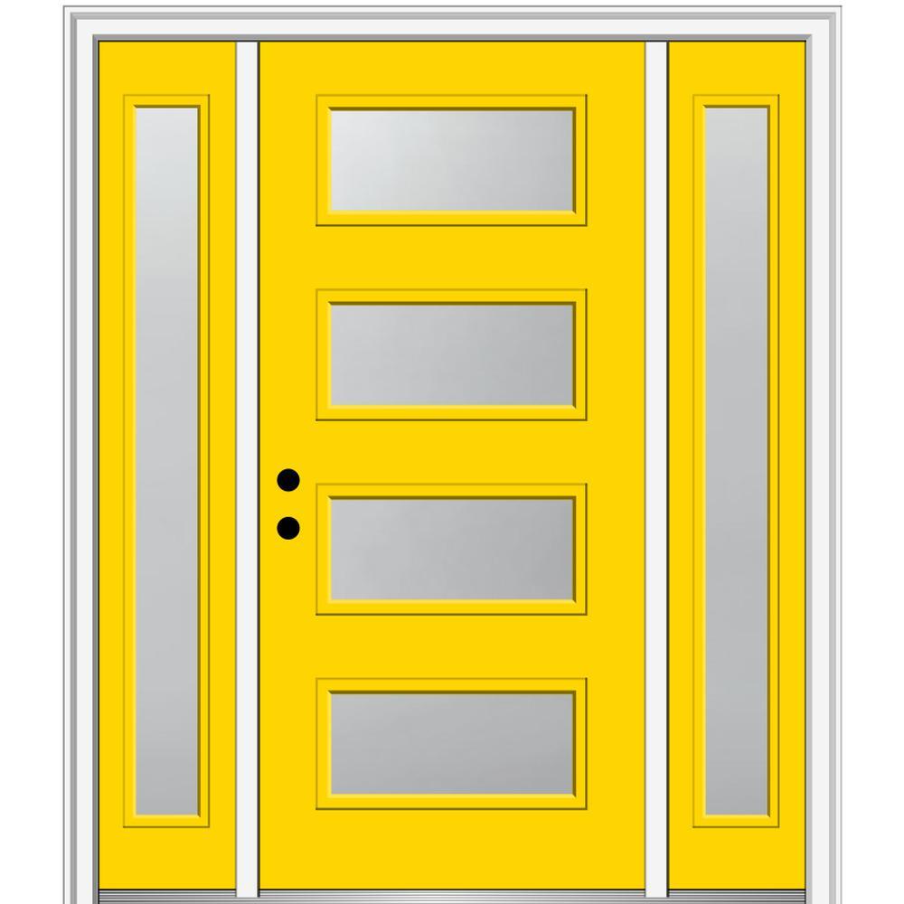 MMI Door 68.5 in. x 81.75 in. Celeste Right-Hand Inswing 4-Lite Frosted Painted Fiberglass Smooth Prehung Front Door w/ Sidelites