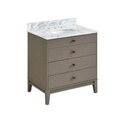 Sarkington 32 in. W x 22.25 in D Bath Vanity in Gray with Marble Vanity Top in Soft Gray with White Basin