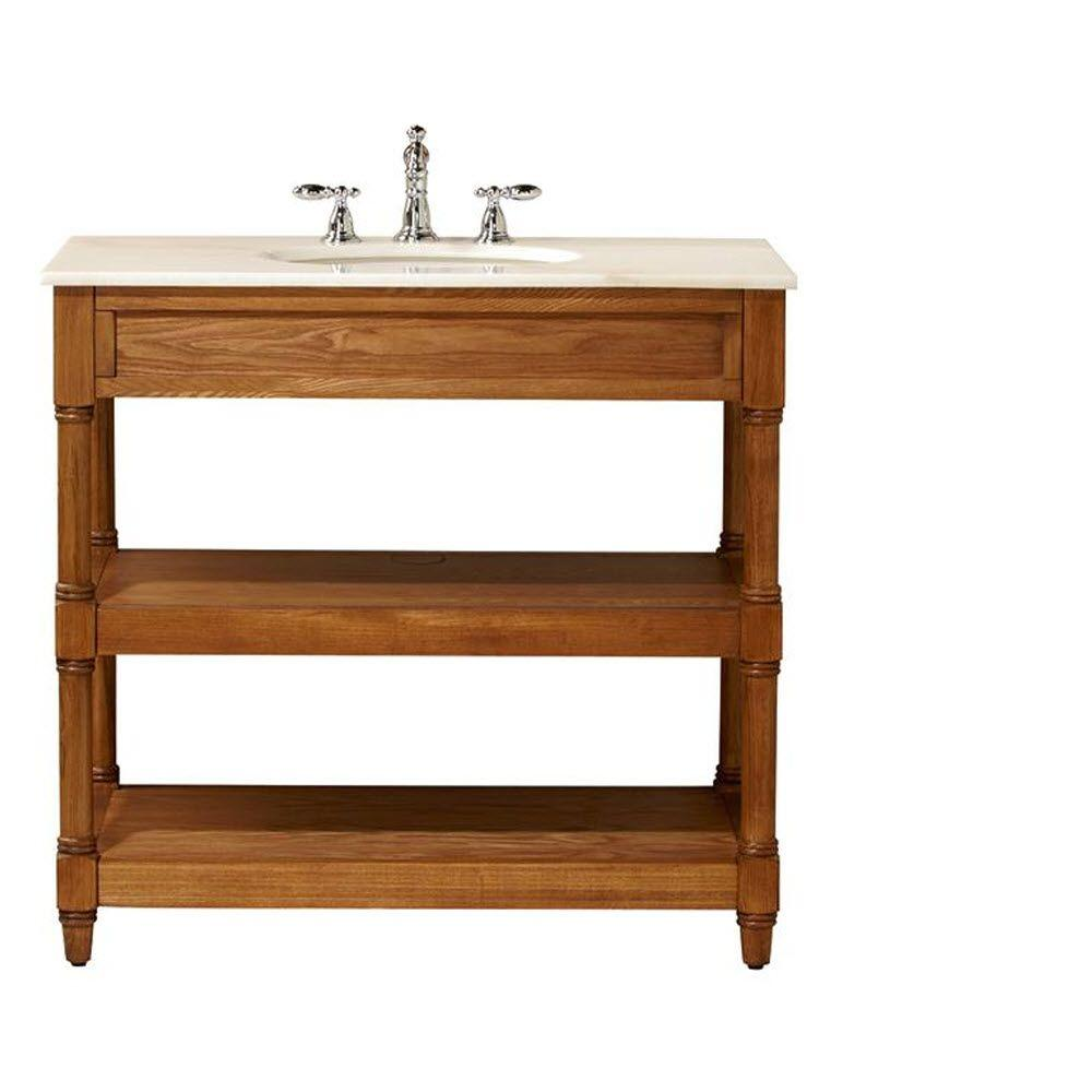 Home Decorators Collection Montaigne 37 In W X 22 D Open Bath Vanity Cabinet Weathered Oak With Marble Top White Sink