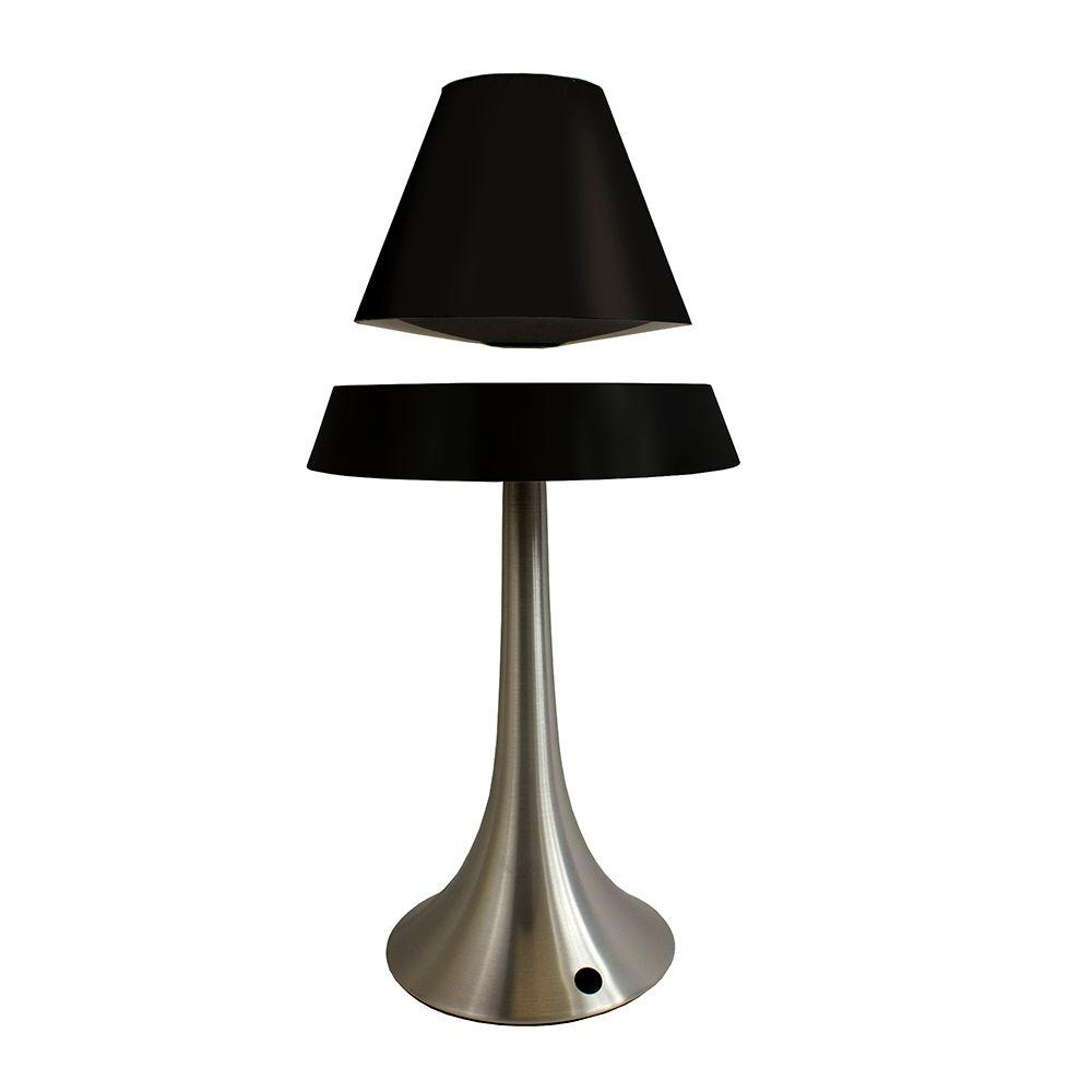 All The Rages 16.5 in. Brushed Chrome Touch Control Hover Lamp with Floating Black Shade