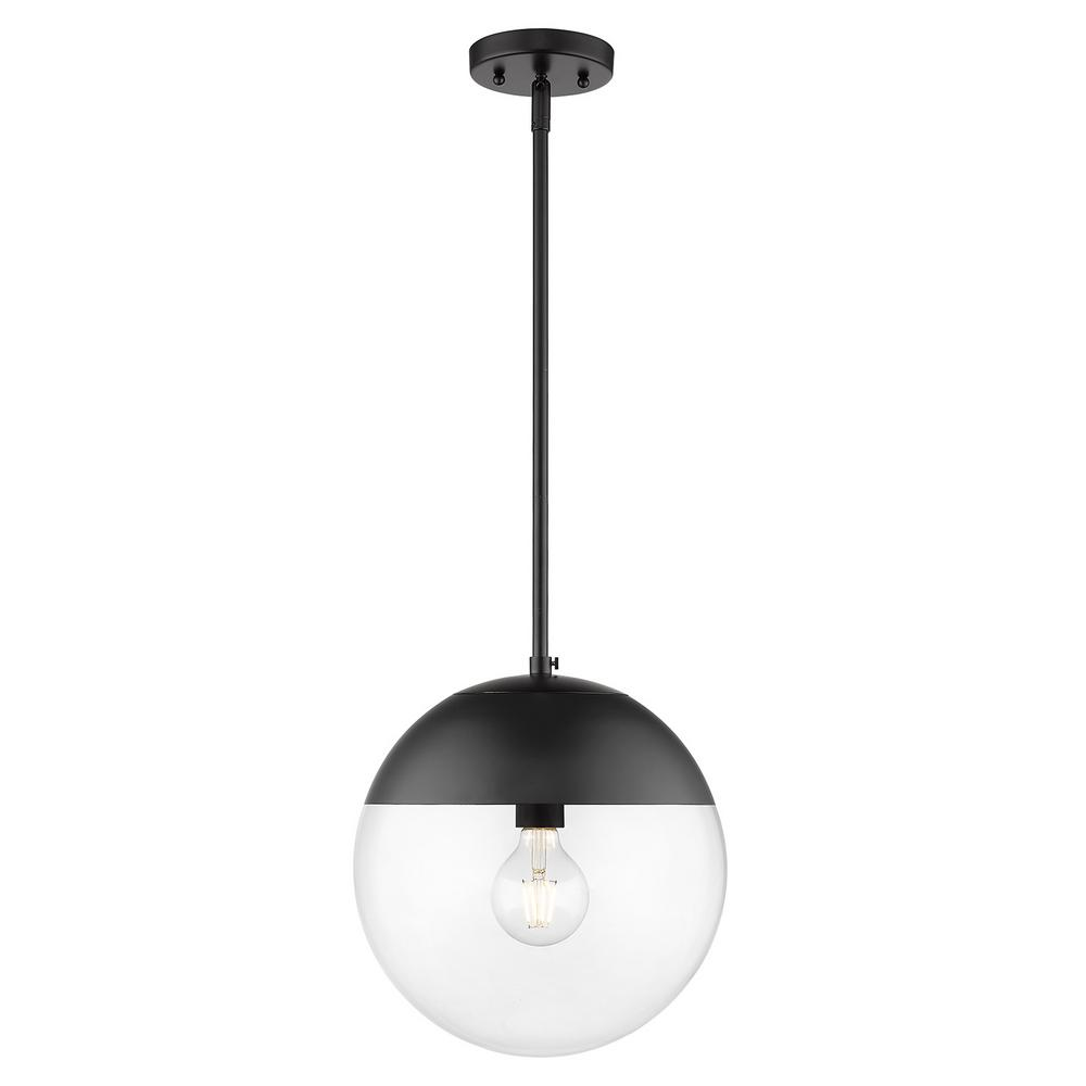 Golden lighting dixon 1 light black with clear glass and black cap pendant light