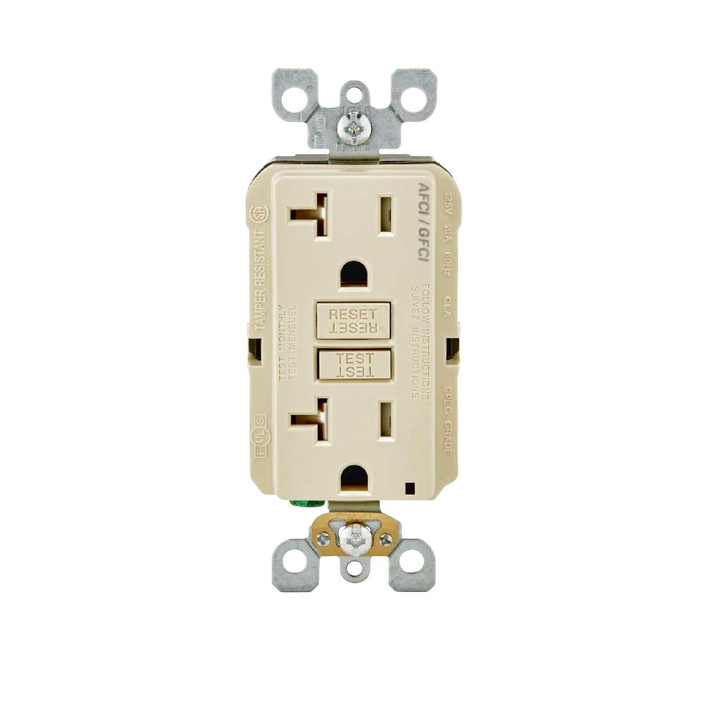 Leviton 20 Amp 125 Volt Afci Gfci Dual Function Outlet Light Almond