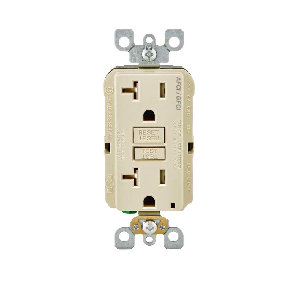 20 Amp 125-Volt Duplex Self-Test SmartlockPro Tamper Resistant AFCI/GFCI Dual Function Outlet, Light Almond