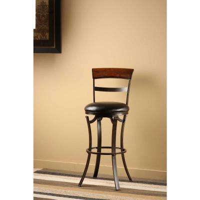 Kennedy 26 in. Black Gold Swivel Cushioned Bar Stool