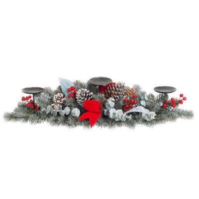 32 in. Snowy Pine Candleholder with Pinecones Berries and Velvet Bow