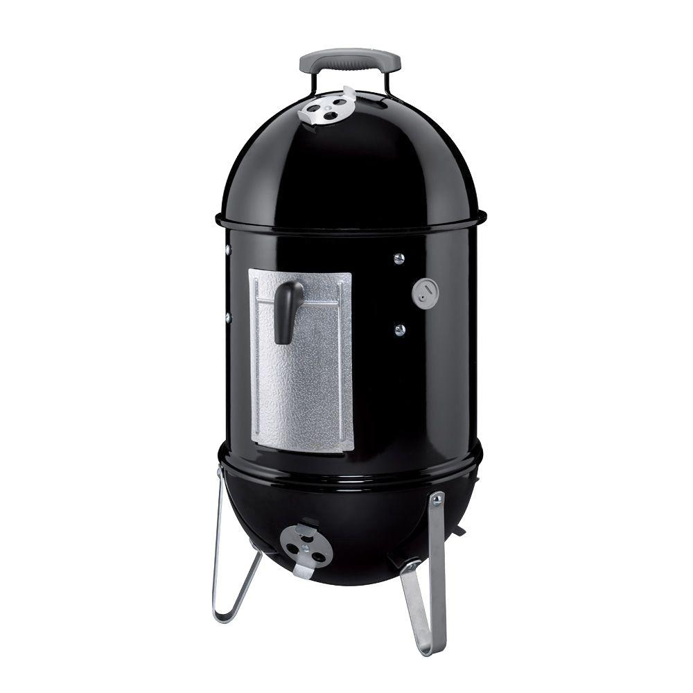 Weber 14 in. Smokey Mountain Cooker Smoker in Black with Cover and Built-In Thermometer