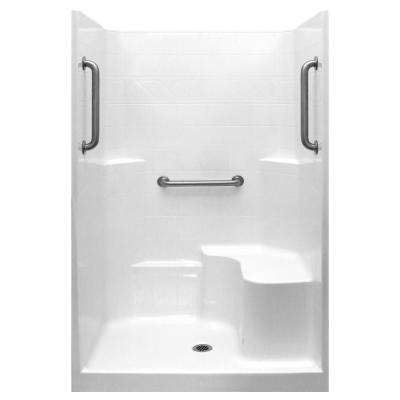 Classic 37 in. x 48 in. x 80 in. 1-Piece Low Threshold Shower Stall in White, Grab Bars, RHS Molded Seat, Center Drain