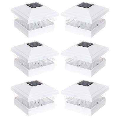 Solar Powered Outdoor Integrated LED White Fence Post Light (6-Pack)
