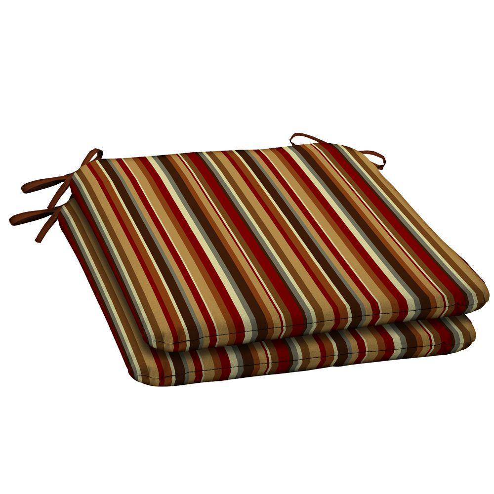 Hampton Bay Rustic Stripe Outdoor Seat Pad (2-Pack)-DISCONTINUED