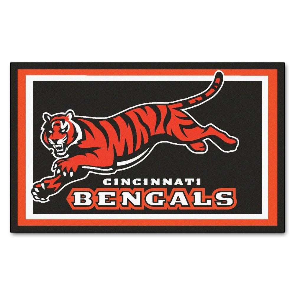 Fanmats Cincinnati Bengals 4 Ft X 6 Ft Area Rug 6568