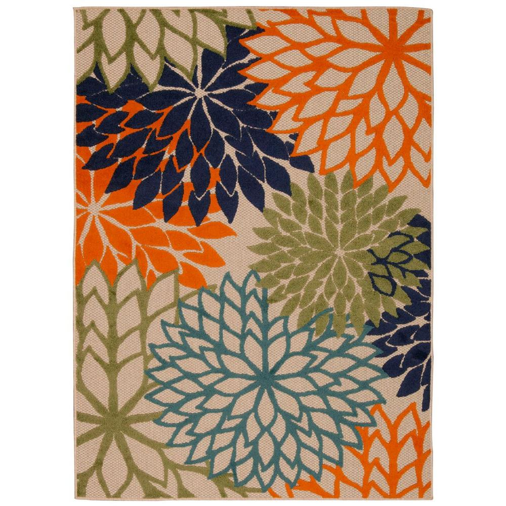 Indoor Outdoor Rugs Home Depot: Nourison Aloha Multicolor 5 Ft. X 7 Ft. Indoor/Outdoor