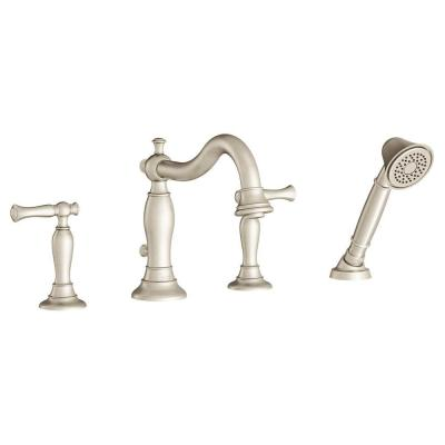 Quentin 2-Handle Deck-Mount Roman Tub Faucet with Hand Shower for Flash Rough-in Valves in Brushed Nickel