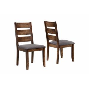 Gray and Brown Wooden Ladder Back Dining Chair (Set of 2)