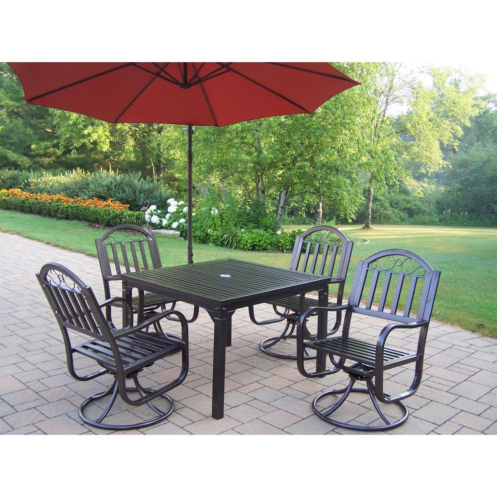 Null Rochester 6 Piece Metal Outdoor Dining Set And Burnt Orange Umbrella