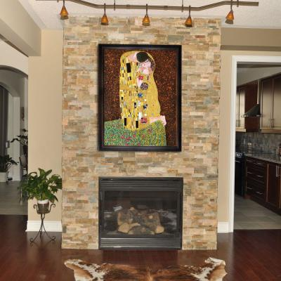 """53 in. x 41 in. """"The Kiss (Full View) with Veine D'Or Bronze Angled Frame """" by Gustav Klimt Framed Wall Art"""