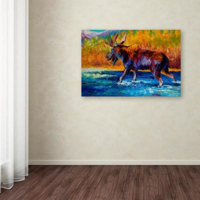 """30 in. x 47 in. """"Autumns Glimpse Moose"""" by Marion Rose Printed Canvas Wall Art"""