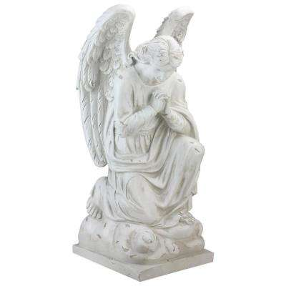 11 In Distressed Ivory Kneeling Praying Angel Religious Outdoor Garden Statue