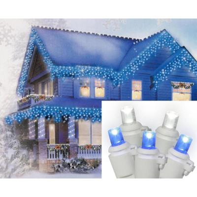 Set of 70 Pure White and Blue LED Icicle Christmas Lights - White Wire