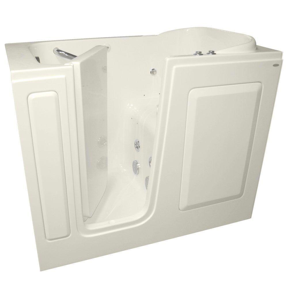 American Standard Gelcoat 4 ft. Walk-In Whirlpool and Air Bath Tub with Left Quick Drain in Linen
