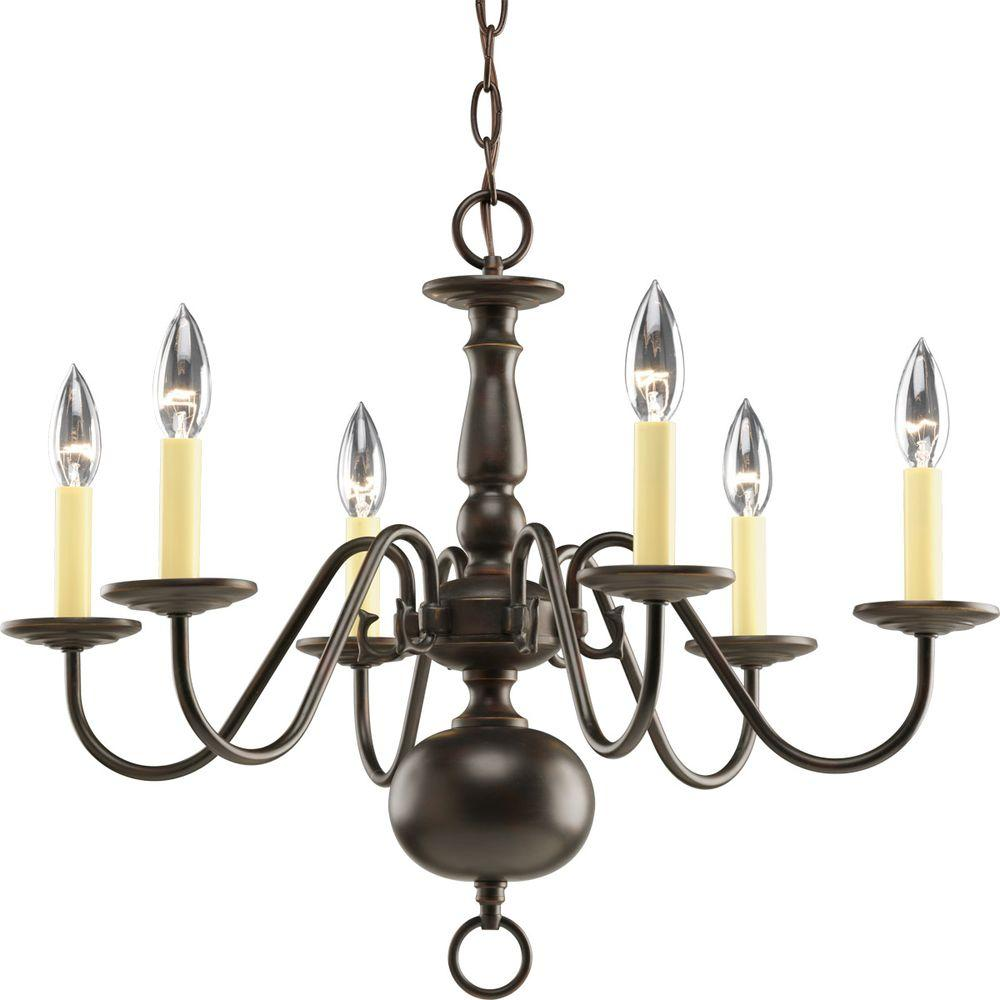 Progress Lighting Americana Collection 6 Light Antique Bronze Chandelier