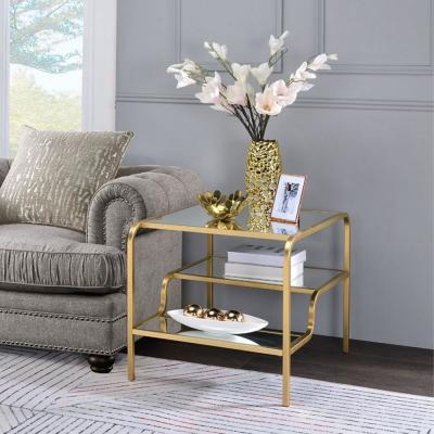 Astrid Gold and Mirror End Table