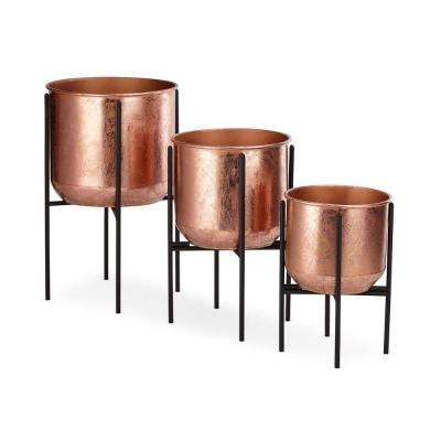 20 in. Dia Copper Metal Foil Planters with Iron Foldable Stands (3-Pack)