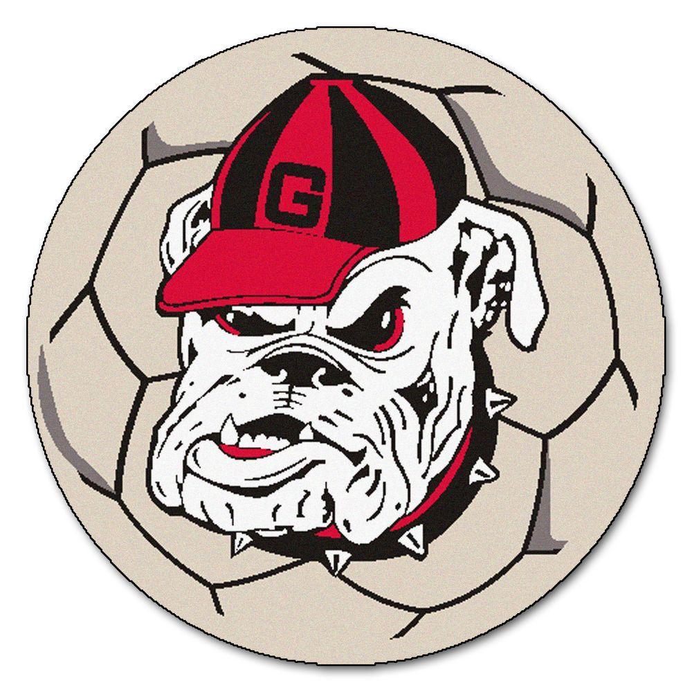 NCAA University of Georgia Bulldog Logo Cream 2 ft. x 2 ft. Round Area Rug