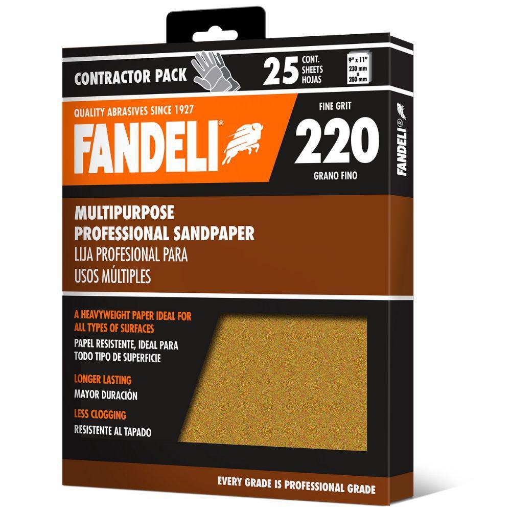 9 in. x 11 in. 220 Grit Fine Premium Aluminum Oxide Sandpaper (25-Pack)