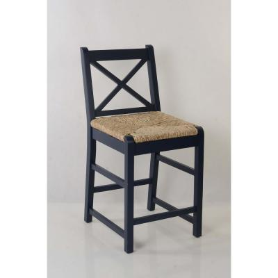 Dorsey Midnight Blue Wood Counter Stool with Back and Rush Seat (17.72 in. W x 38.58 in. H)