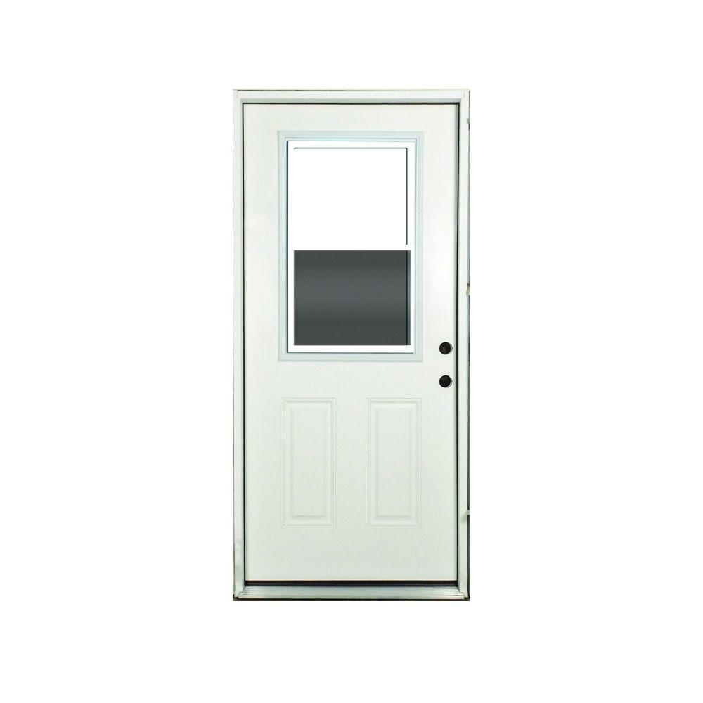 32 in. x 80 in. Vented 1/2 Lite Primed White Fiberglass Prehung Front Door