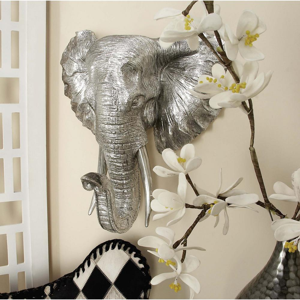 16 in. x 16 in. Silver Wildlife Polystone Elephant Head Wall Decor