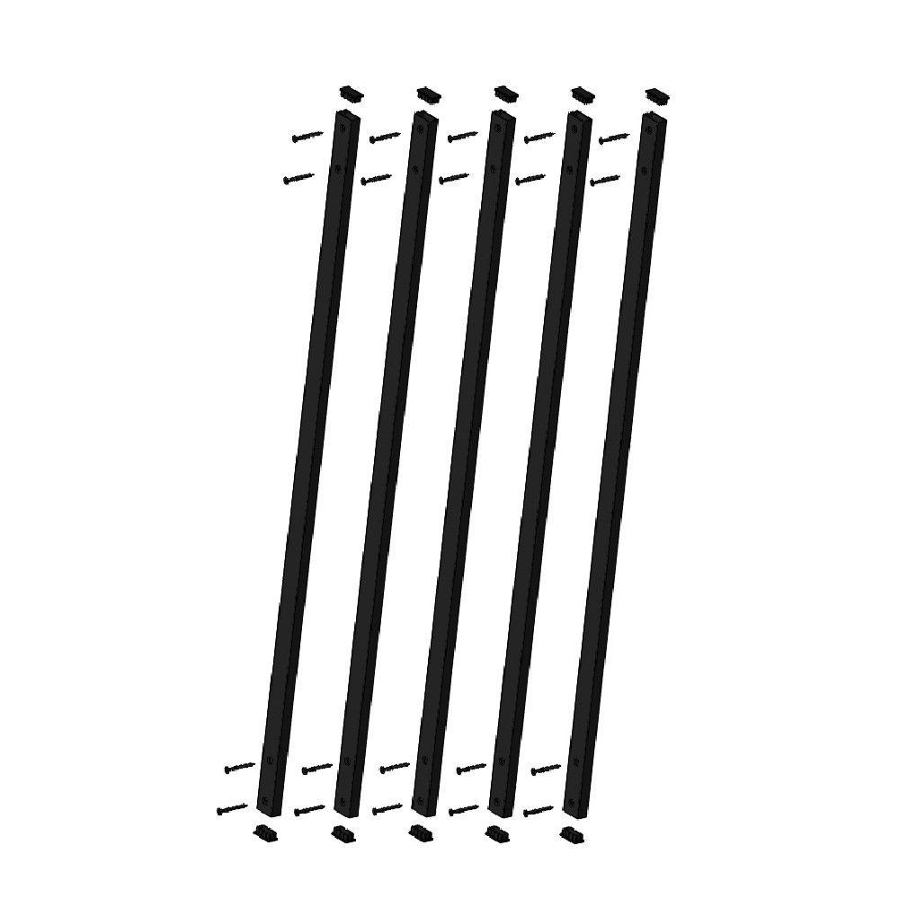 32-1/4 in. x 1 in. Black Fine Textured Aluminum Rectangle Face Mount Deck Railing Baluster (5-Pack)