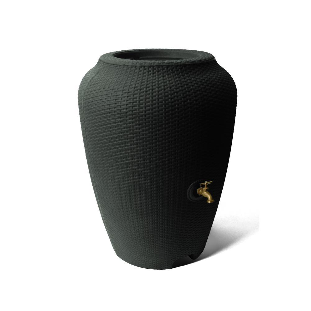 Wicker 50 Gal. Black Rain Barrel