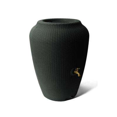 Wicker 50 Gal. Black Rain Barrel