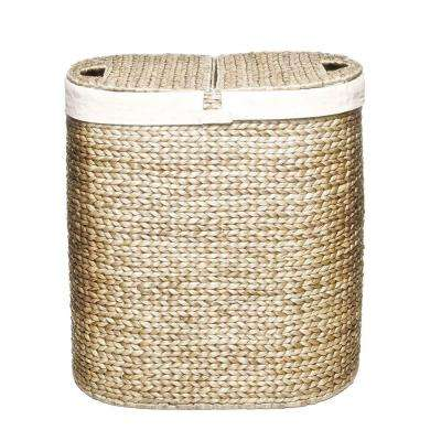 2-Compartment Water Hyacinth Laundry Hamper