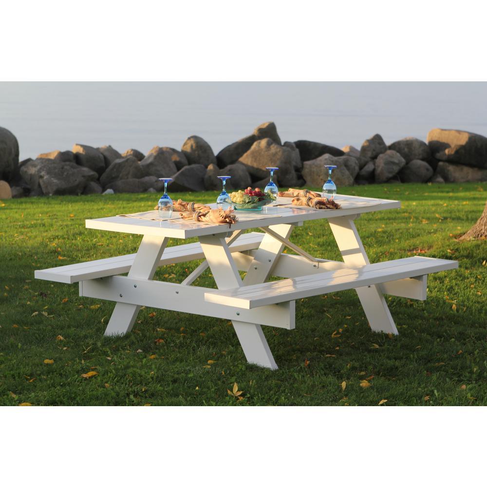 8 ft. White Vinyl Patio Picnic Table