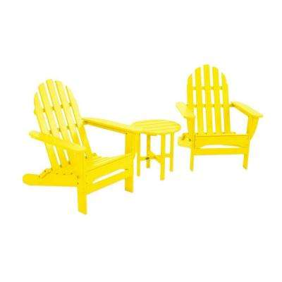 Classic Folding Lemon 3-Piece Adirondack Patio Seating Set