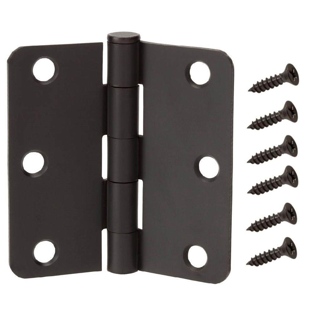 3-1/2 in. x 1/4 in. Radius Oil-Rubbed Bronze Door Hinge Value Pack (12-Pack)